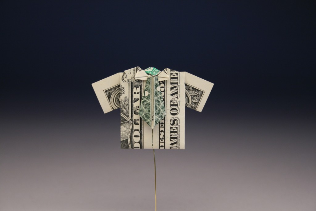 Dollar Bill Origami T-Shirt Father's Day Card - Crafty Morning | 683x1024