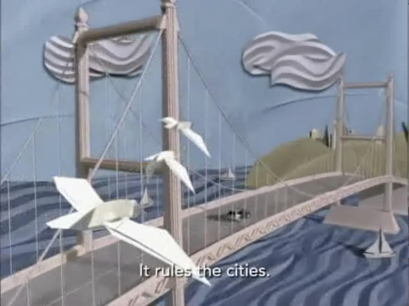 seagulls over bridge
